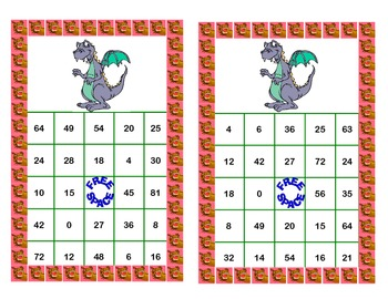 Bingo Game for Multiplication Tables 0-10 Fantasy Theme