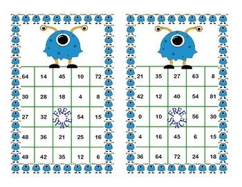 Bingo Game for Multiplication Tables 0-10 Funny Monster Theme