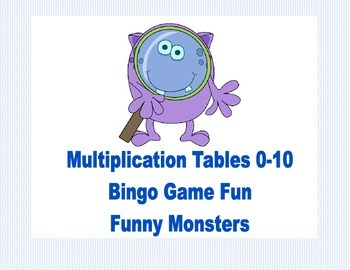 Bingo Game for Multiplication Tables 0-10 Funny Monster Theme