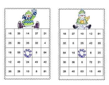 Bingo Game for Multiplication Tables 0-10 Snowman Theme