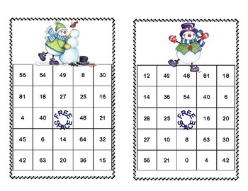 Bingo Game for Multiplication Tables 0-10 Snowman Theme