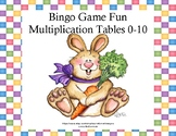 Bingo Game for Multiplication Tables 0-10 Spring Bunnies Theme