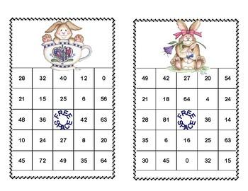 Bingo Game for Multiplication Tables 0-10 Spring Bunnies Theme