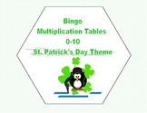 Bingo Game for Multiplication Tables 0-10 St.Patrick's Day Theme