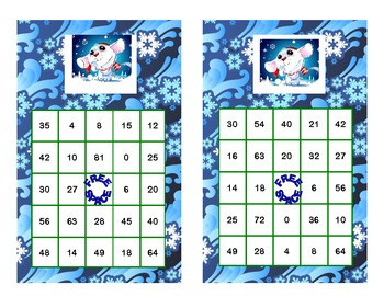 Bingo Game for Multiplication Tables 0-10 Winter Theme
