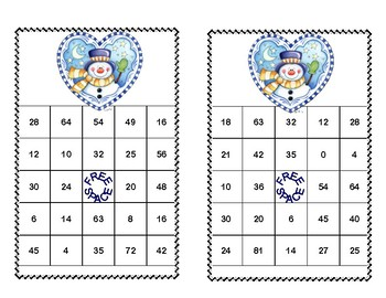 Bingo Game for Multiplication Tables 0-10 -Winter Theme