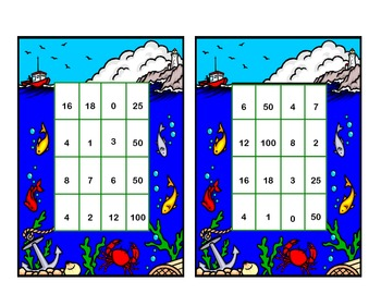 Bingo Game for Multiplication Tables 0,1,2,5, and 10 Tables Ocean Beach Theme