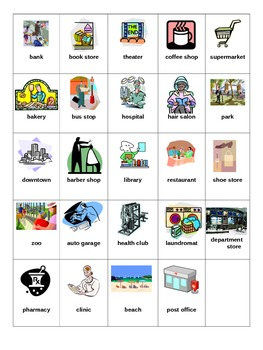 Bingo Game for ESL Places Around Town