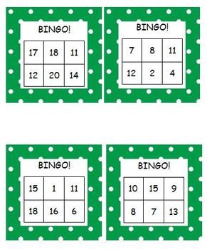 Bingo Game for Recognizing Numbers 1-20 Common Core Activity