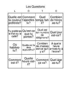 Bingo Game reviewing basic questions:French
