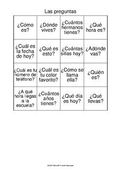 Bingo Game reviewing basic questions:Spanish