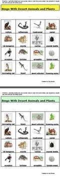 Bingo Game with Desert Animals and Plants