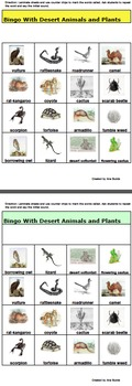 Bingo Game with Desert Animals and Plants