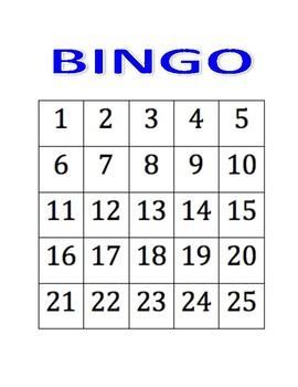 Bingo Gameboard and Numbers