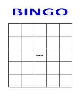 Bingo Gameboard and Numbers - English & French activities
