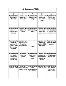 Bingo - Getting to Know You Activity