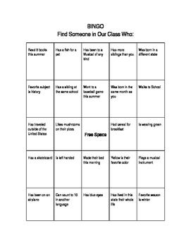 Bingo - Getting to Know Your Classmates!