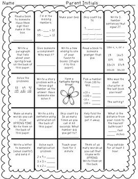 Bingo Homework Boards Bundle (Fall, Thanksgiving, Christmas, Winter, Spring)