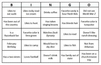 Bingo Ice Breaker