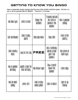 Free Bingo Icebreaker Begin... by Tracee Orman | Teachers Pay Teachers