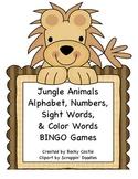 Bingo -Jungle Themed Alphabet, Number, Sight Words, & Color Words Bingo Games