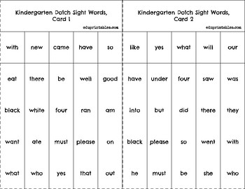 Bingo! Kindergarten Dolch Sight Words