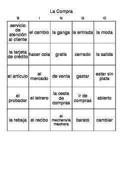 Bingo: La Compra (Shopping)/Vocabulary and Listening