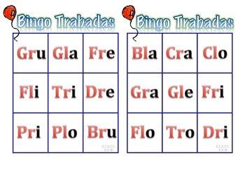 Bingo-Loteria Silabas Trabadas (Grupos Consonánticos)K-2nd Spanish