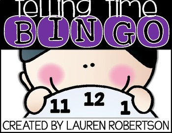 Bingo Math Center- Telling Time Edition
