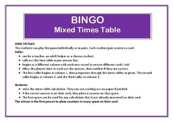 Bingo Mixed Times Table Game