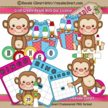 Bingo Monkeys ClipArt - Commercial Use