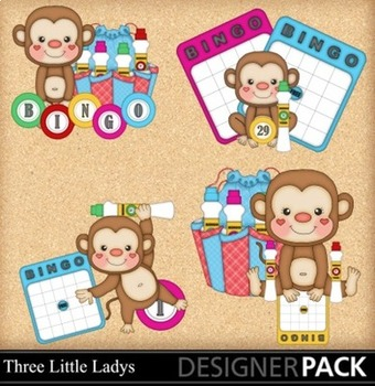 Bingo Monkeys ClipArt - Commercial Use