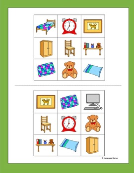 Bedroom Bingo for EFL ESL EAL MFL