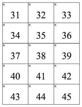 Bingo Number Cards