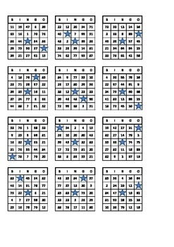 Bingo Number Cards (x50, 1-100)