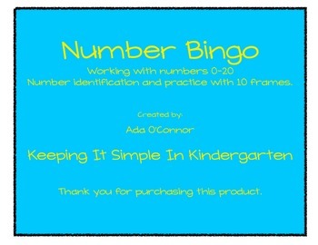 Bingo - Numbers 0-20 (game cards in color or B/W)