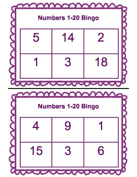 Bingo Numbers 1-20
