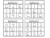 Bingo Numbers 1-5 Alphabet A-E