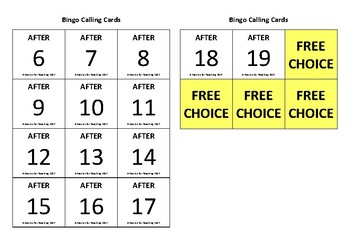BINGO: Before and After Numbers 1-20