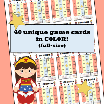 Bingo Numbers to 120 Superheroes