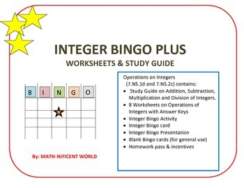 Bingo Operations on Integers Plus Study Guide & Worksheets
