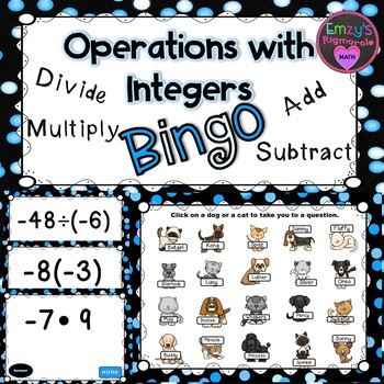 Bingo- Operations with Integers (add, subtract, multiply, divide)
