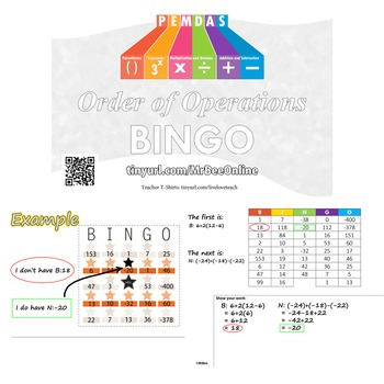 The Best Bingo - Order of Operations -  Bingo - PEMDAS