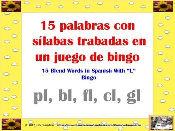 Bingo Palabras con sílabas trabadas -Blends with L in Spanish