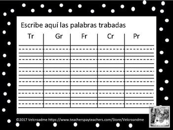 Bingo Palabras con sílabas trabadas -Blends with R in Spanish