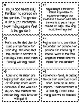 Bingo (Perimeter and Area Word Problems)