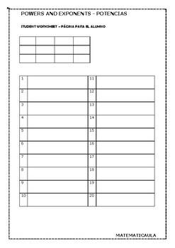 Bingo - Powers and exponents - Potencias
