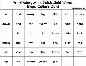 Bingo! Pre-Kindergarten Dolch Sight Words