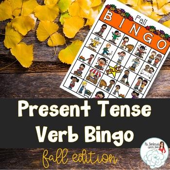 Bingo: Present Tense Verb Endings Fall Edition
