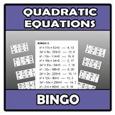 Bingo - Quadratic equations - Ecuaciones de 2º grado